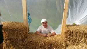 Phil in straw bale window
