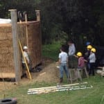Compressing straw bale walls