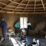 clay plastering at art cabin, sherborne