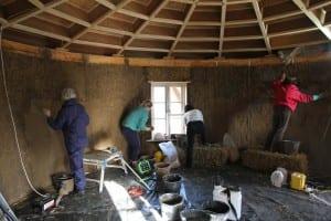 clay plastering at art cabin, sherborne